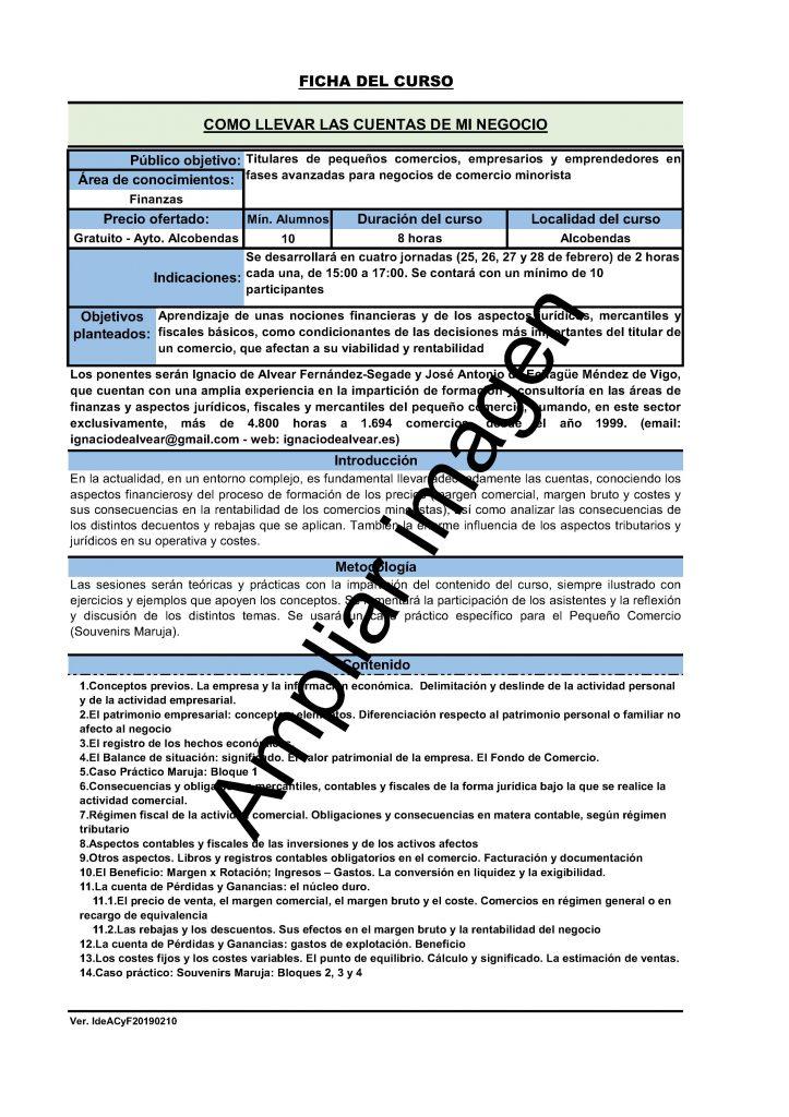 Ficha informativa del curso de Cómo llevar las cuentas de mi negocio